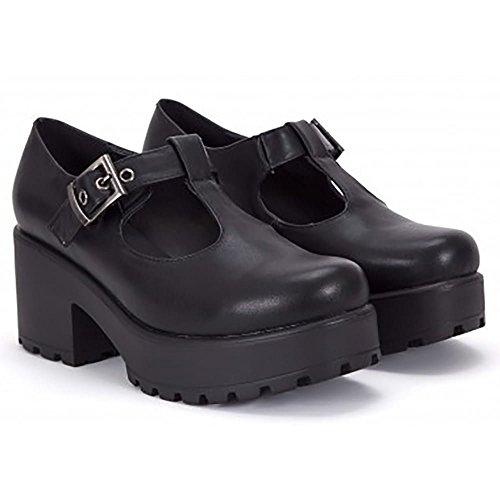 Las Mujeres Negro Enlistonadas Plataformas T-bar Hebilla Corte Grueso Zapatos Tacones UK6/EURO39/AUS7/USA8