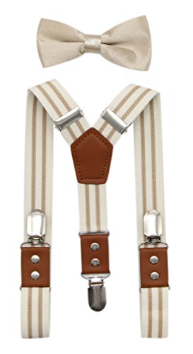 Ivory Pu Leather (JAIFEI Suspender & Bowtie Set For Men & Boys Durable Clips & High End PU Leather (Men's (48 Inches), Cream))