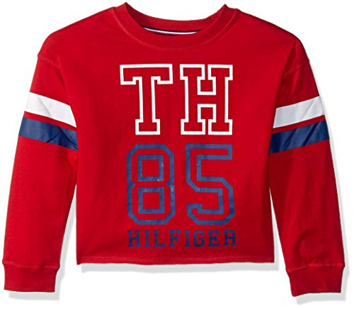 Tommy Hilfiger Big Girls' Sport Pullover Sweater, Haute red Crew, Medium 8/10 (Tommy Hilfiger Sweater Red Women)
