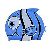 MagiDeal Waterproof Swim Learner Kids Boys Girls Children Junior Silicone Swimming Cap/Hat - Fish Cartoon Pattern, Bright Color
