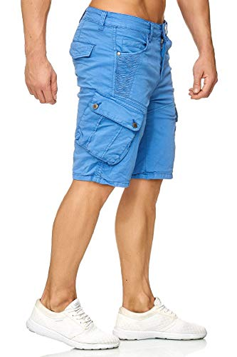Chino Egomaxx Pantaloni Da Bermuda Pantaloncini Corti Uomo Carico Blu xwY6UqYS