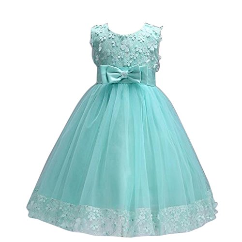 Elegant Ball Gown Lace Dress for Kids Birthday Party Costume Wedding Dresses Mint Green 120(6-7years) ()