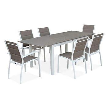 Salon de Jardin Table Extensible - Chicago 210 Taupe - Table en ...