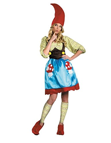Disguise Women's Ms. Gnome Costume, Blue/Green/Red, -
