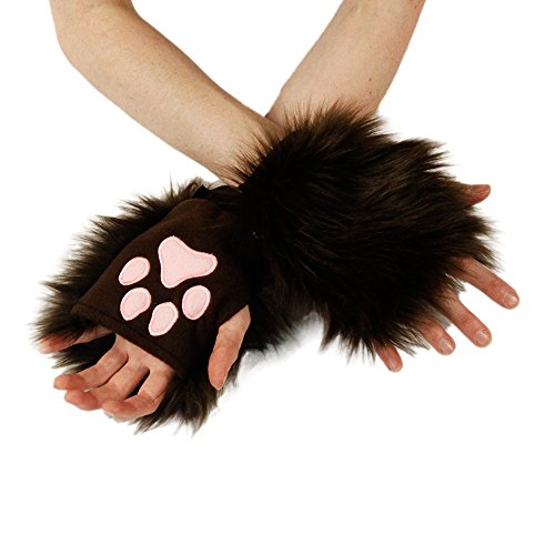 Pawstar Classic Pawlets Fingerless Glove Paws Furry Cat Fox Cosplay - Brown
