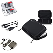 Insten Black EVA Case Cover + USB Cable + Grey Travel Charger + 2-LCD Protector Compatible with Nintendo DS Lite