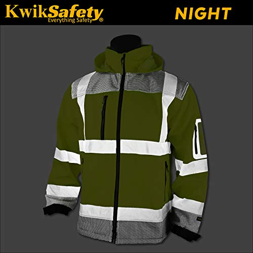 KwikSafety (Charlotte, NC) GALAXY Class 3 SoftShell Safety Jacket | ANSI Water Resistant Lightweight Reflective Hi Vis PPE Detachable Hood| Wind Rain Construction, Men Women Yellow | XX-Large by KwikSafety (Image #3)