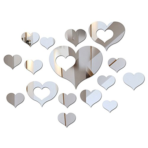 16pcs Shichique 3D Acrylic Heart Shaped Mirror Wall Stickers Silver Removable Art Wall Stickers Home Decor Wall Decors - Mirror Heart Shape