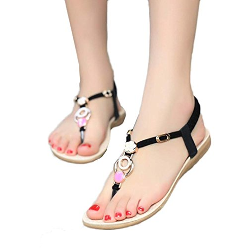 Bohemia Sandals Bovake Lovely 38 Beads Foot Toes Flop Vintage Footwear Flop Shoes Flat Wear Comfortable Flip Beach Sandal Sandals Wedges Summer To No Sandals Flip Rubbing Black Women rqq6EfwxX