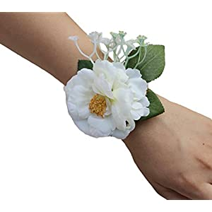 USIX 2pc Pack-Handmade Artificial Camellia Flower Wrist Corsage With Lace Wristband for Girl Bridesmaid Wedding Party Prom Flower Corsage Hand Flower 49