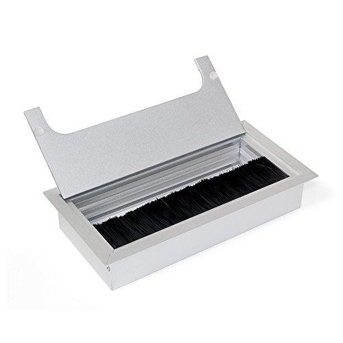 Emuca 5070362 Passe-câble carré encastrable  pour table de bureau en Alu 160 x 80 mm Anodisé Mat - 1un