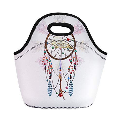 Semtomn Neoprene Lunch Tote Bag Watercolor Dreamcatcher Bird Skull Feathers Chicken Foot Charm Beaded Reusable Cooler Bags Insulated Thermal Picnic Handbag for Travel,School,Outdoors, Work ()