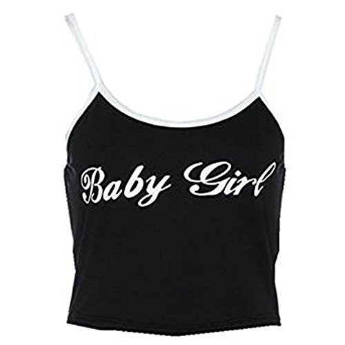 (WM & MW Sexy Women Crop Tops Baby Girl Letter Printed Cami Bustier Vest Tank Tops Sleeveless Blouse (Medium, Black))