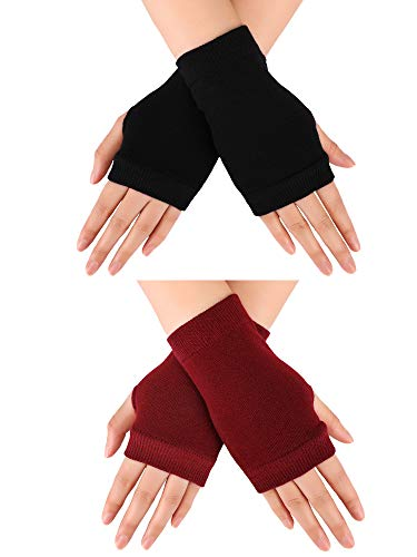 Blulu 2 Pairs Fingerless Warm Gloves with Thumb Hole Cozy Half Fingerless Driving Gloves Knit Mittens for Men, Women (Black, Red Wine)