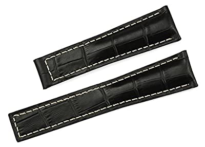 iStrap Watch Band 22/18mm Cowhide Leather Strap Original Style Deployment Watch Band Fit TAG HEUER Carrera Monaco from Qimeila