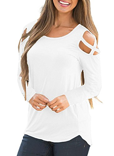 PinUp Angel White Open Shoulder Top Women Lady Long Sleeve Cold Shoulder Fall Peasant Blouse (Blouse Angel)