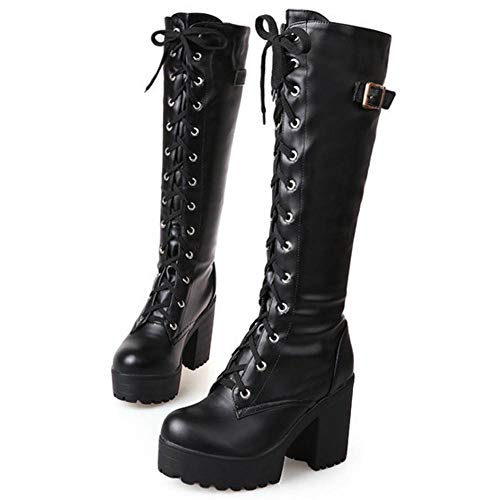 TAONEEF Women Fashion Platform Block Heels Knee High Boots