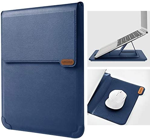 """Nillkin 15.6 inch Laptop Sleeve Case Laptop Stand Adjustable, Computer Shock Resistant Bag with Mouse Pad for MacBook Pro 16""""/15"""" 15.6"""" Dell Lenovo HP Asus Acer Samsung Sony Chromebook Computer, Blue"""