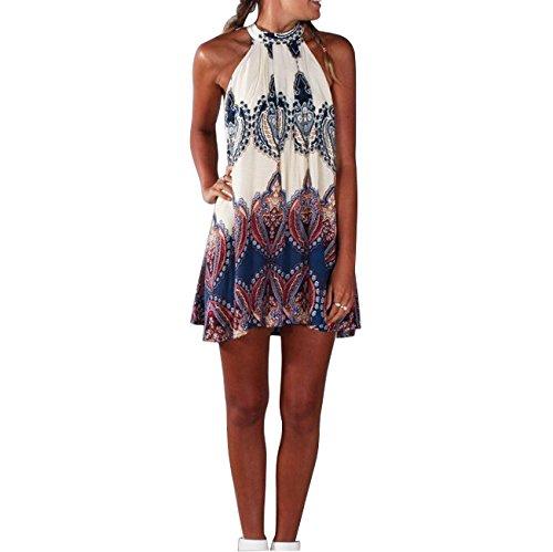Maxquoia Damen Sommerkleid Strandkleid Oberteile Sexy beiläufig loses Blumen gedruckt ärmellos modisch Minikleid Frauen Partykleid Abendkleid