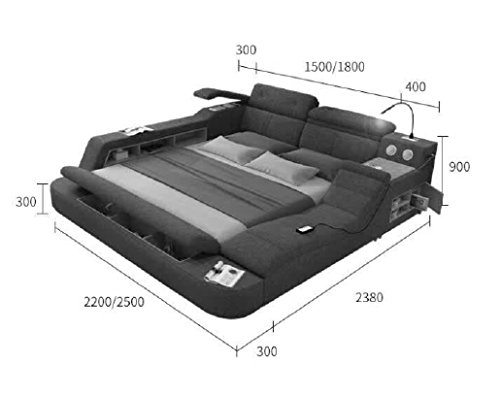 Amazon.com: All-in-One Leather Double Bed with Speakers ...