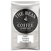 The Bean Coffee Company Organic Unroasted Green Coffee Beans, Nicaraguan, 16-Ounce