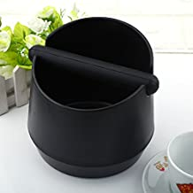 Home Knock Box, Detachable ABS Coffee Knock Box Coffee Grind Knock Box with Rubber Bar for Espresso Grind Waste Bin (Black)