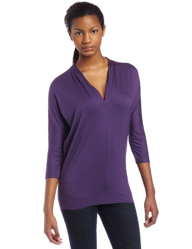 UPC 638505560585, Three Dots Women's Viscose Lycra Narrow V-Neck Top, Deep Violet, X-Large