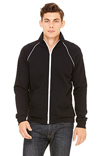 Bella + Canvas Mens Piped Fleece Jacket (3710)- Black/White,Small
