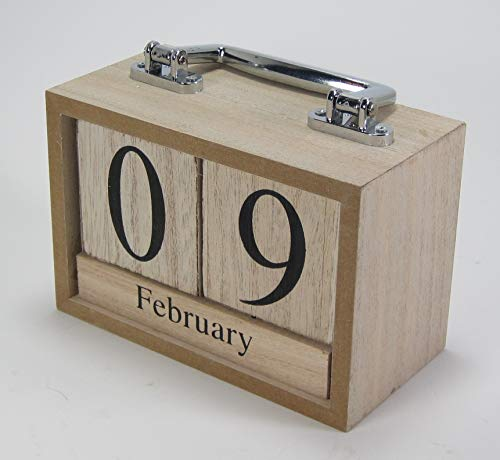 Natural Wood Perpetual Calendar Blocks with Chrome Carrying Handle Desk Tabletop