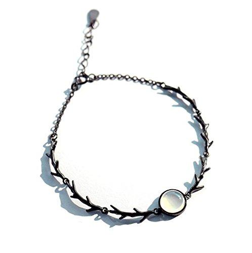 (Moonlight Forest s925 Sterling Silver Bracelets Women Girls Birthday Gift Ideas Rose Bud Black Thorns Silver Bracelet Bangle (Moonlight Forest Bracelet)