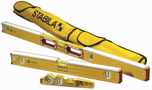 Stabila 48296 Mason kit includes 36448-48-Inch Mason Level with dead-blow shield, 36424 Mason Level with dead-blow shield, 25100 die cast torpedo and 30015 carry ()