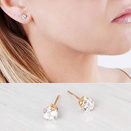 Gold Filled CZ Diamond Stud Earrings - Designer Handmade Clear Zircon Wedding Earrings - Size 5mm