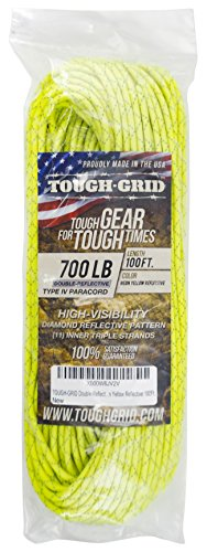 TOUGH-GRID New 700lb Double-Reflective Paracord/Parachute Cord - 2 Vibrant Retro-Reflective Strands for The Ultimate High-Visibility Cord - 100% Nylon - Made in USA - 100Ft. Neon Yellow Reflective by TOUGH-GRID (Image #3)