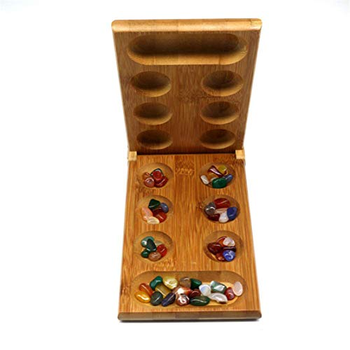 Kissherely Classics Wood Mancala Board Game Kids Strategy Tsum Mancala Stones Games, Easy to store Travel Size