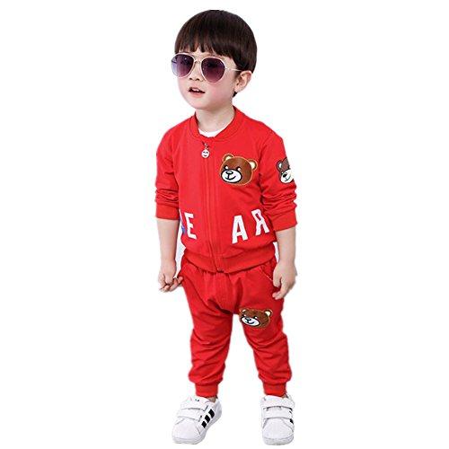 FTSUCQ Kids Cartoon Zip Front Tracksuits Jacket Coat + Shirt + Pants,Red - Friday Sales Lack