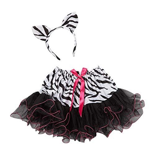 Girls Zebra Tutu Skirt and Headband Costume