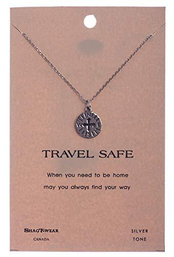 Shag Wear Journey and Teacher Inspirations Quote Pendant Necklace (Travel Safe Compass Pendant)