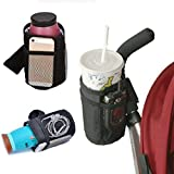 ESUPPORT Insulated Cup Holder Multifunctional Sport Bottle Organizer Drink Cup with Storage mesh Pockets for Baby Stroller, Wheelchairs, Bike, car Seats, Booster Seats