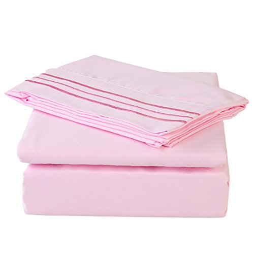Pink Sheets Flannel (MEROUS 4 Piece Bed Sheet Set with Deep Pocket - Hypoallergenic Soft Brushed Microfiber Bedding Sheets - Wrinkle, Fade, Stain Resistant - California King, Pink)