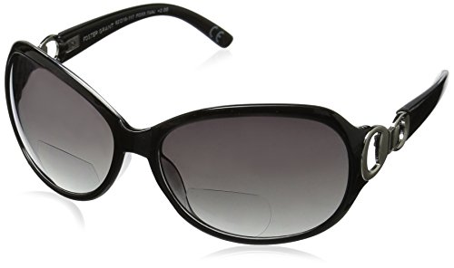 Foster Grant Women's Latte 1017551-200.COM Oval Reading Glasses, black, 2