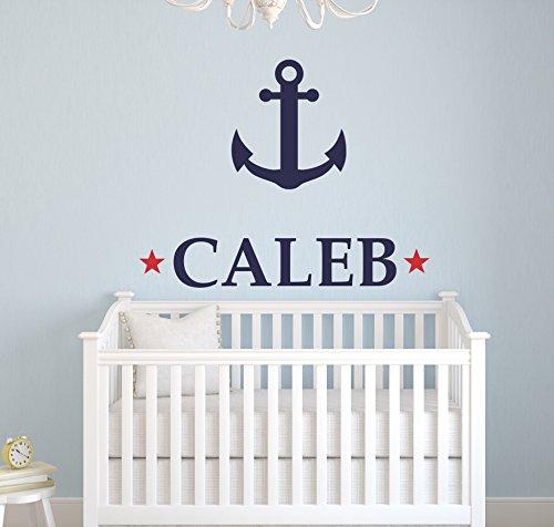 Custom Anchor Name Wall Decal - Nursery Room Decor - Nursery Wall Decals - Nautical Wall Decor (32Wx28H)