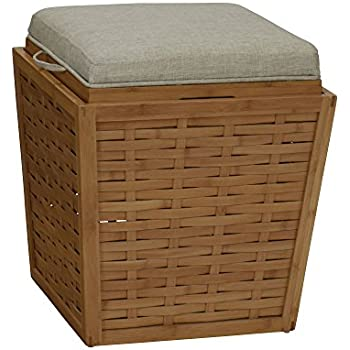 Amazon Com Bamboo Square Storage Ottoman W Cushion In