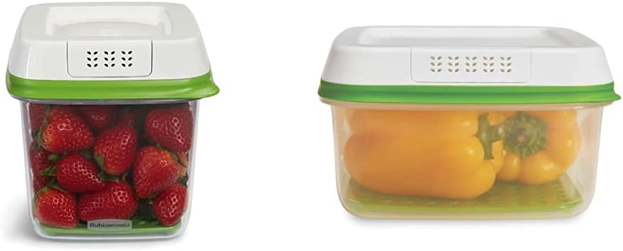 Rubbermaid 1920478 6.3Cup Produce Container, 6.3 Cup, Green & FreshWorks Produce Saver Food Storage Container, Large Square, 11.1 Cup, Green