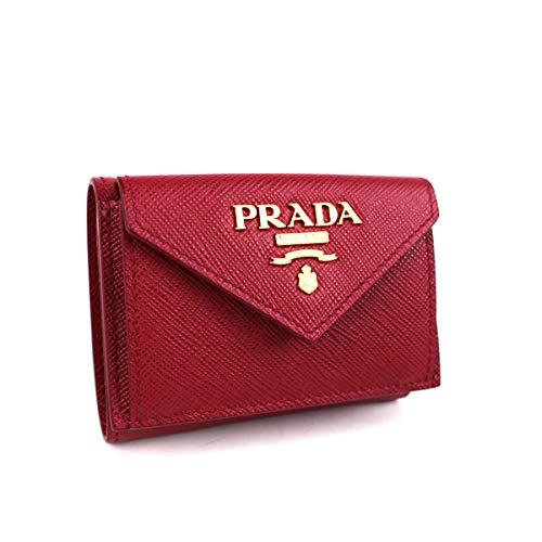 (プラダ) PRADA 三つ折り財布 ミニ財布 サフィアーノ 赤 j431 [中古] B07RSLRVGP