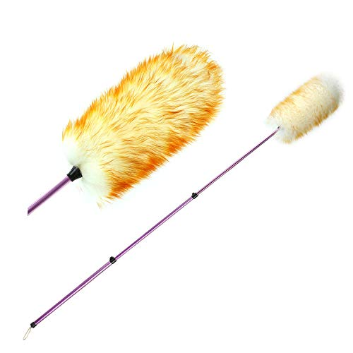 Extendable Duster with Telescoping Pole, Anti Static Wool, Durable Aluminum Alloy, cobweb duster, Washable Duster for Cleaning Ceilings, Fans, Lights, Book Shelves, Lightweight Feather (Fine Feather Floor Lamp)