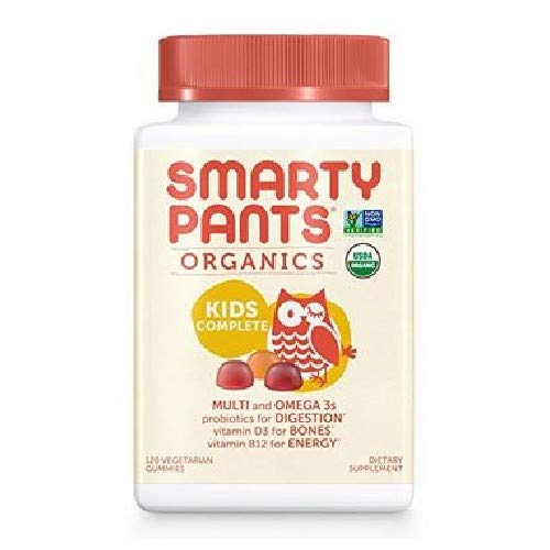 SmartyPants Organic Kids Formula Daily Gummy Vitamins: Probiotic, Vitamin D3, Vitamin B12, Gluten Free, Zinc, Methylfolate, Omega-3, Methylcobalamin, Vegetarian, Non-GMO, 120 Count (30 Day Supply)