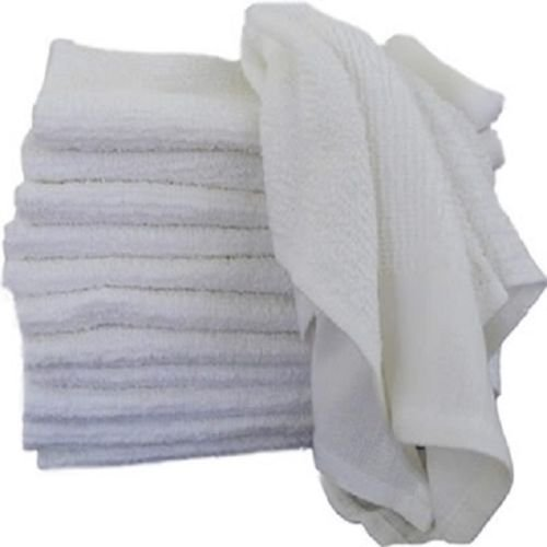 GHP 240-Pcs 24-Oz 16''x19'' White Cotton Terry Weave Absorbent Cleaning Rag Towels by Globe House Products