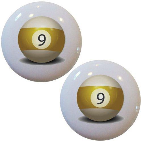 Set of 2 Billiards 9 Pool Ball Ceramic Cabinet Drawer (Ceramic Ball Cabinet Knob)