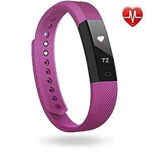 LINTELEK Pulsera Inteligente, Fitness Track con monitor de Ritmo Cardíaco, Podómetro, Sueño, Contador de Calorías, para iOS 7.1, Android 4.4, Bluetooth 4.0, Purple