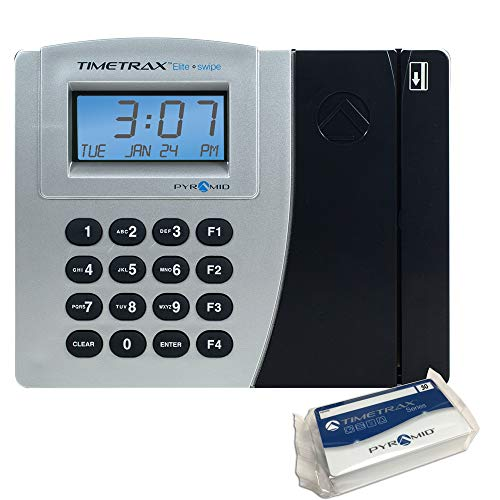 (Pyramid TimeTrax Elite PSDLAUBKK Automated Swipe Card Time Clock System with Software - Made in USA)
